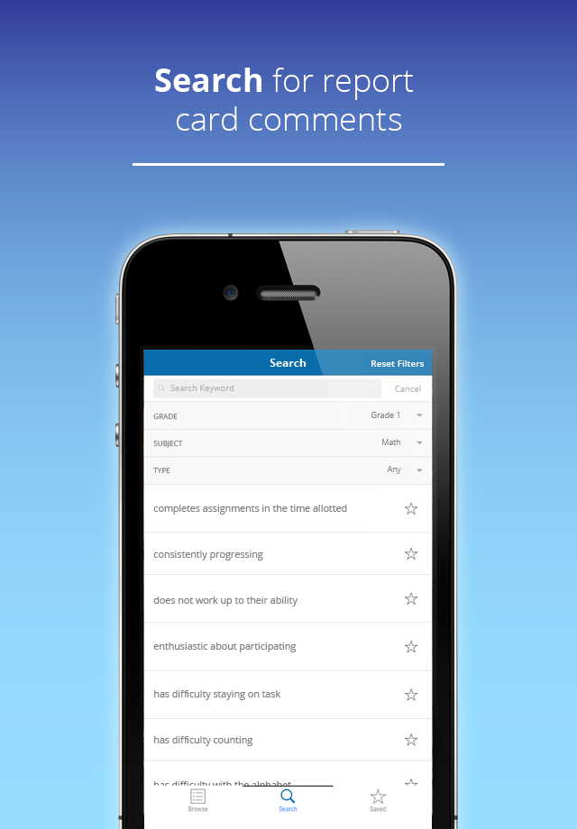 Download our App!   Easy Report Card Comments